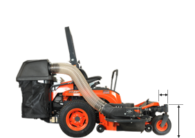 Kubota ZG227 deck reach measurements